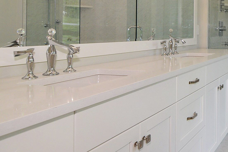 These pretty faucets add an elegant touch to the master bath.
