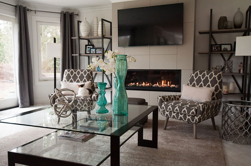In the family room we kept decor simple but comfort was still key for this couple.
