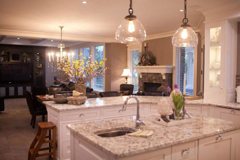 The kitchen spills right into the great room which makes for easy entertaining.